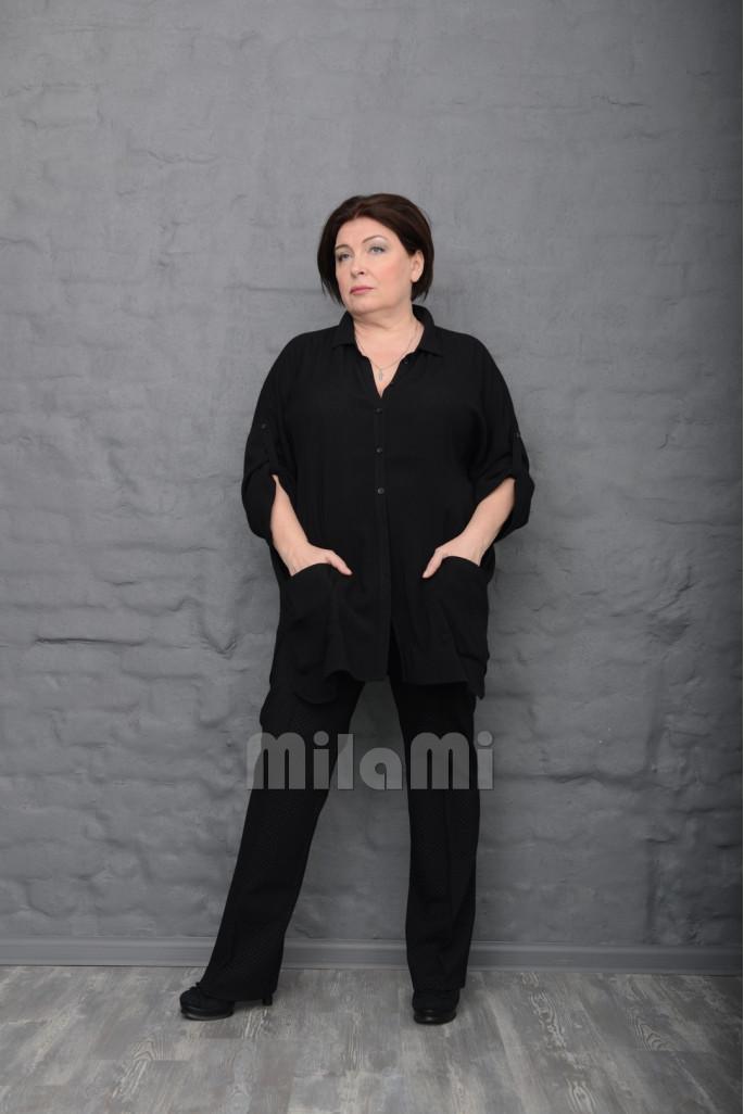 Рубашка-блуза жатка черная