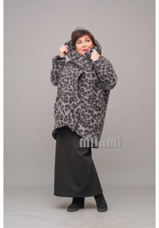 Пальто Кокон короткое серый леопард