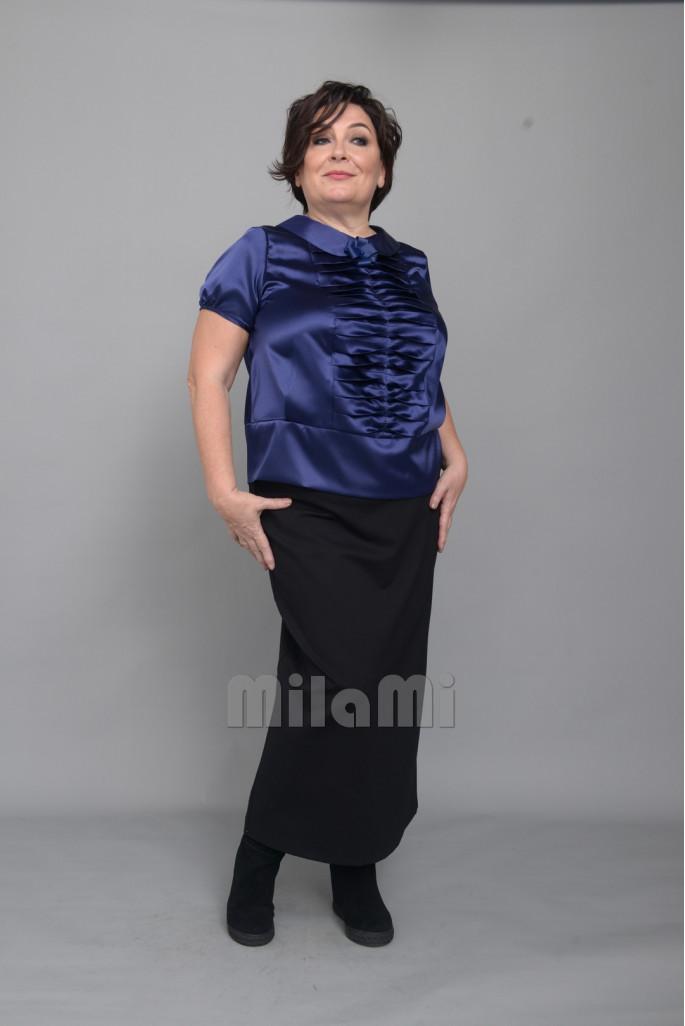Блуза с декоративным жабо синяя
