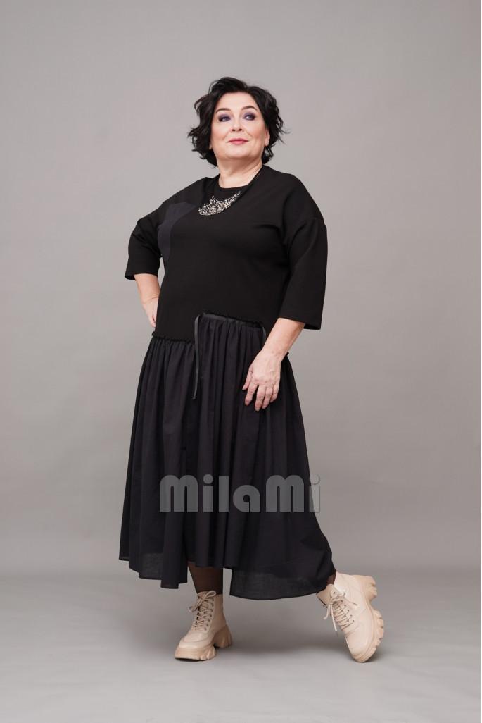 Платье casual с батистом