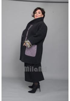 Пальто-кокон с экокожей и роскошным букле