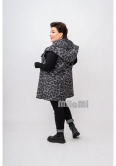 Жилет Леопард с капюшоном