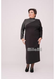 Платье прямое Одри с экокожей