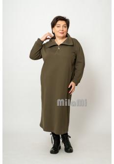 Платье прямое свободное футер хаки