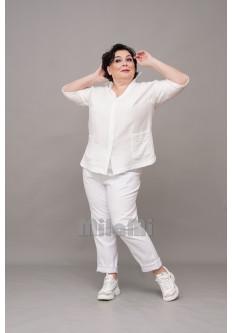 Блузка с коротким рукавом из жатки