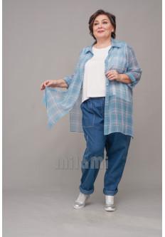 Блуза-рубашка длинная из шифона
