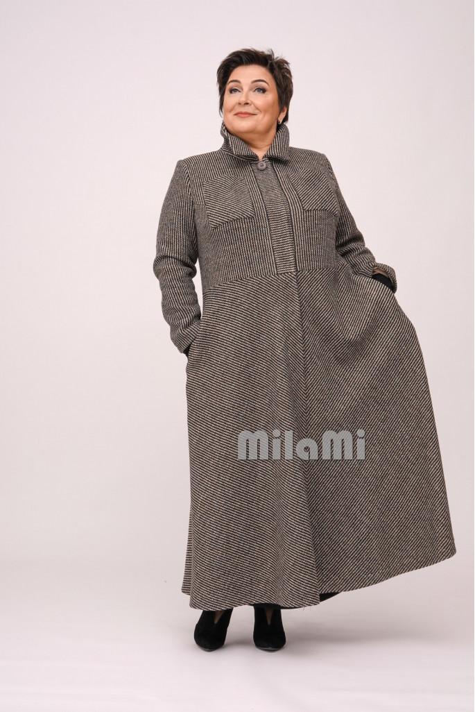 Пальто Ар-деко приталенное меланжевое